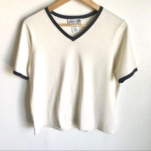 Pendleton Petite Knit Top Cream Black Trim Size M